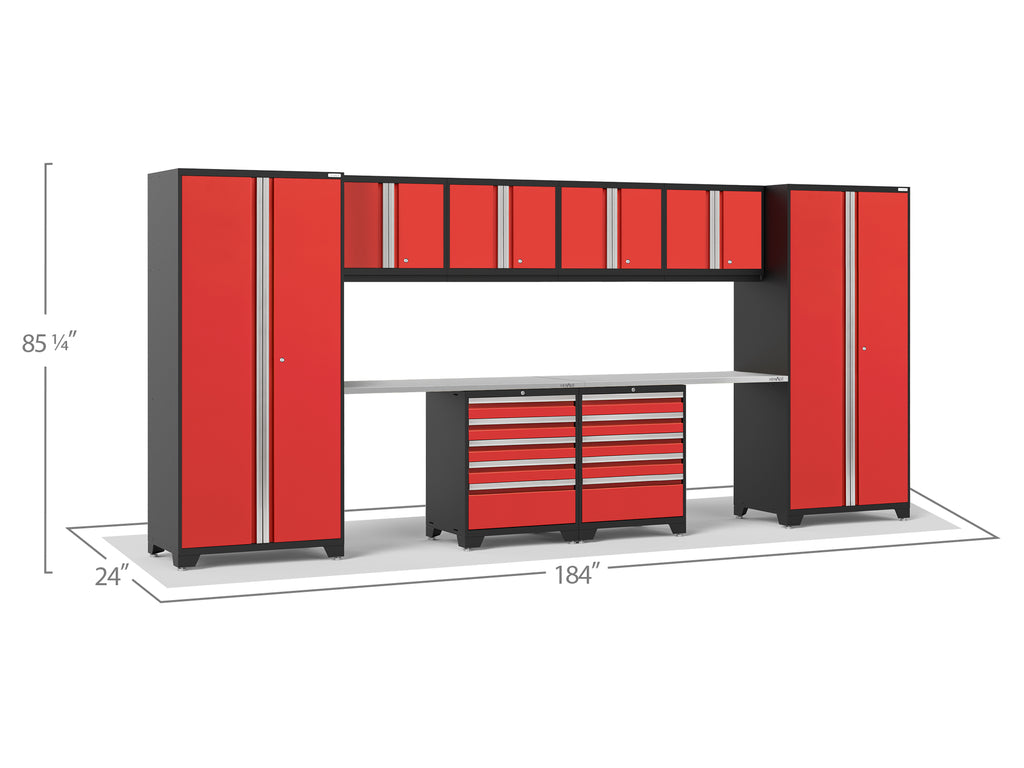 Red Doors with Stainless Steel Top / None