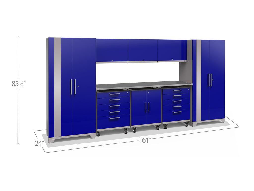 Blue Doors with Stainless Steel Top / None