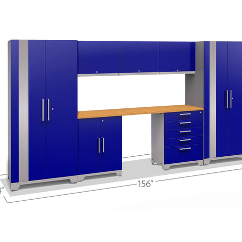 Blue Doors with Bamboo Top / None
