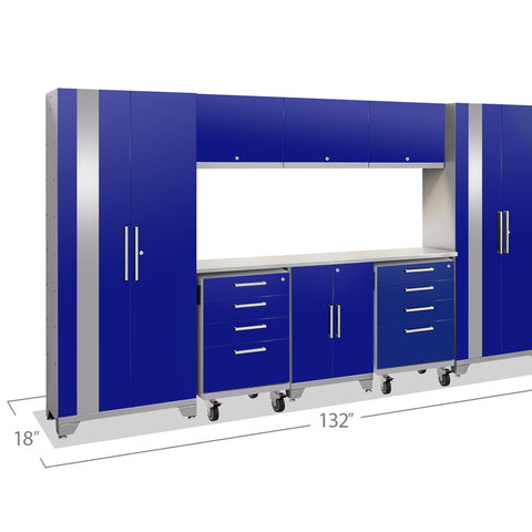 Blue Doors with Stainless Steel Top / LED Light Only