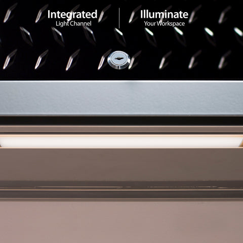 Black Diamond Plate Doors with Stainless Steel Top / LED Light Only