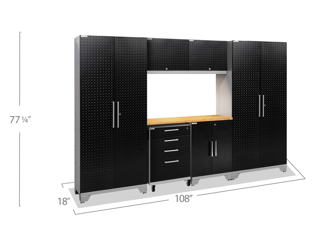 Black Diamond Plate Doors with Bamboo Top / LED Light Only