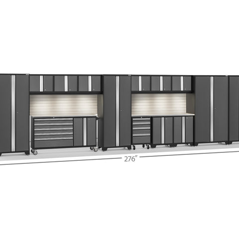 Gray Doors with Stainless Steel Top / LED Light with Slatwall Backsplash