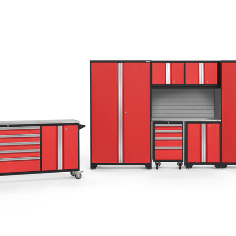 Red Doors with Stainless Steel Top / Slatwall Backsplash Only