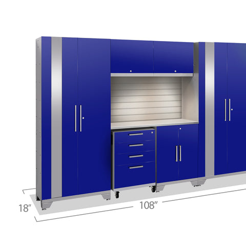 Blue Doors with Stainless Steel Top / LED Light with Slatwall Backsplash