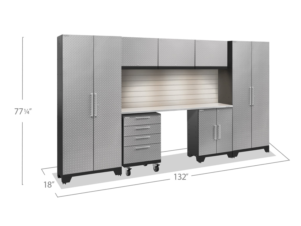 Silver Diamond Plate Doors with Stainless Steel Top / LED Light with Slatwall Backsplash