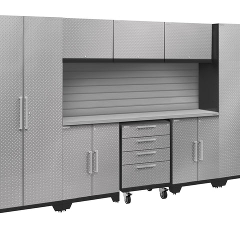 Silver Diamond Plate Doors with Stainless Steel Top / Slatwall Backsplash Only