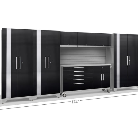 Black Doors with Stainless Steel Top / Slatwall Backsplash Only