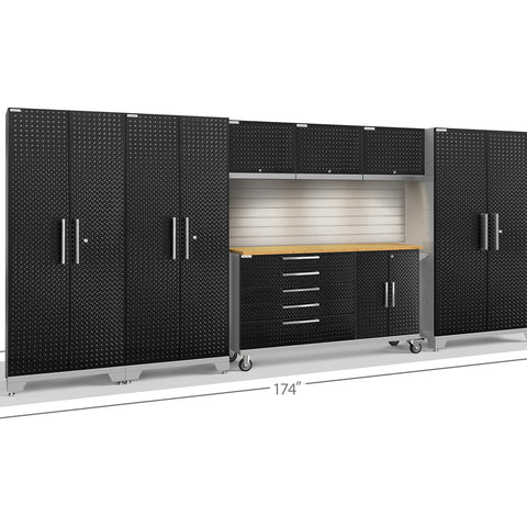 Black Diamond Plate Doors with Bamboo Top / LED Light with Slatwall Backsplash