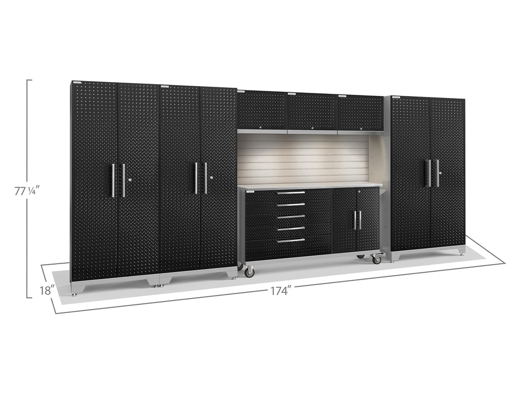 Black Diamond Plate Doors with Stainless Steel Top / LED Light with Slatwall Backsplash