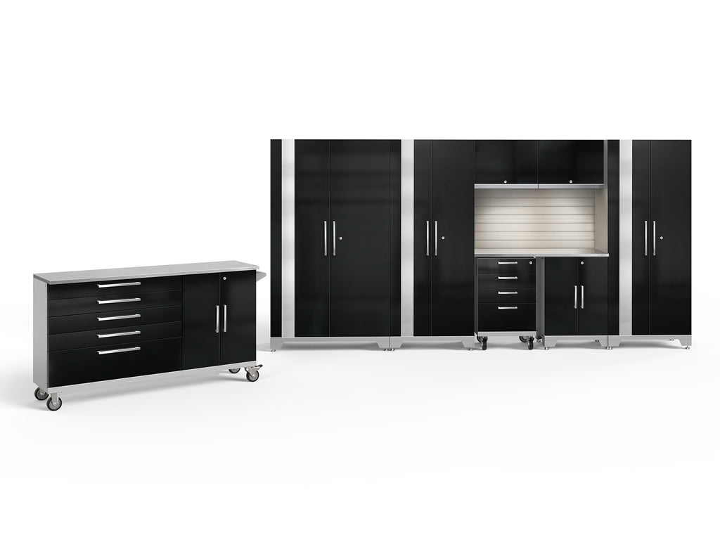 Black Doors with Stainless Steel Top / LED Light with Slatwall Backsplash