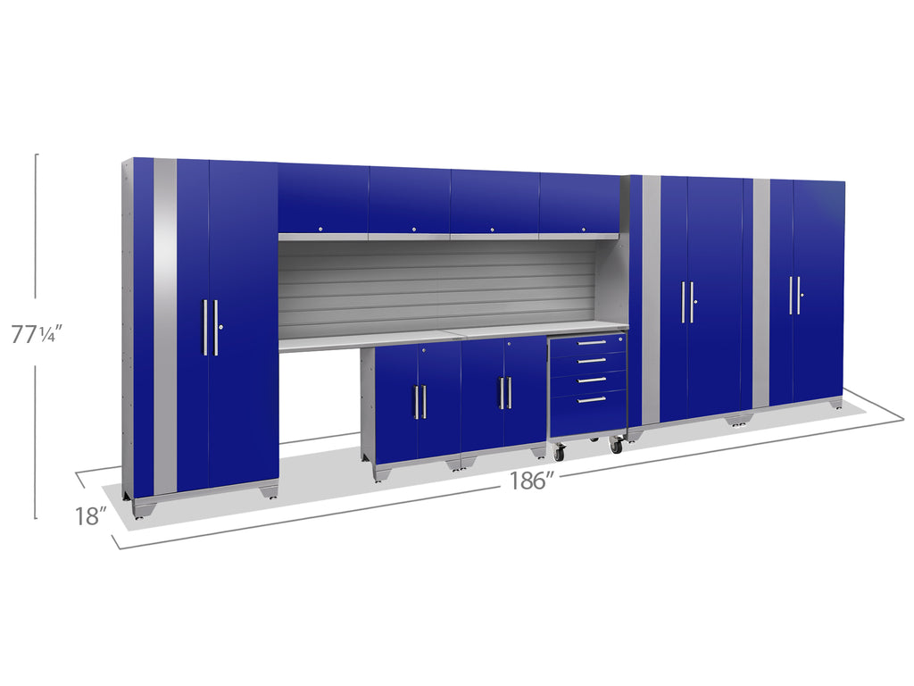 Blue Doors with Stainless Steel Top / Slatwall Backsplash Only