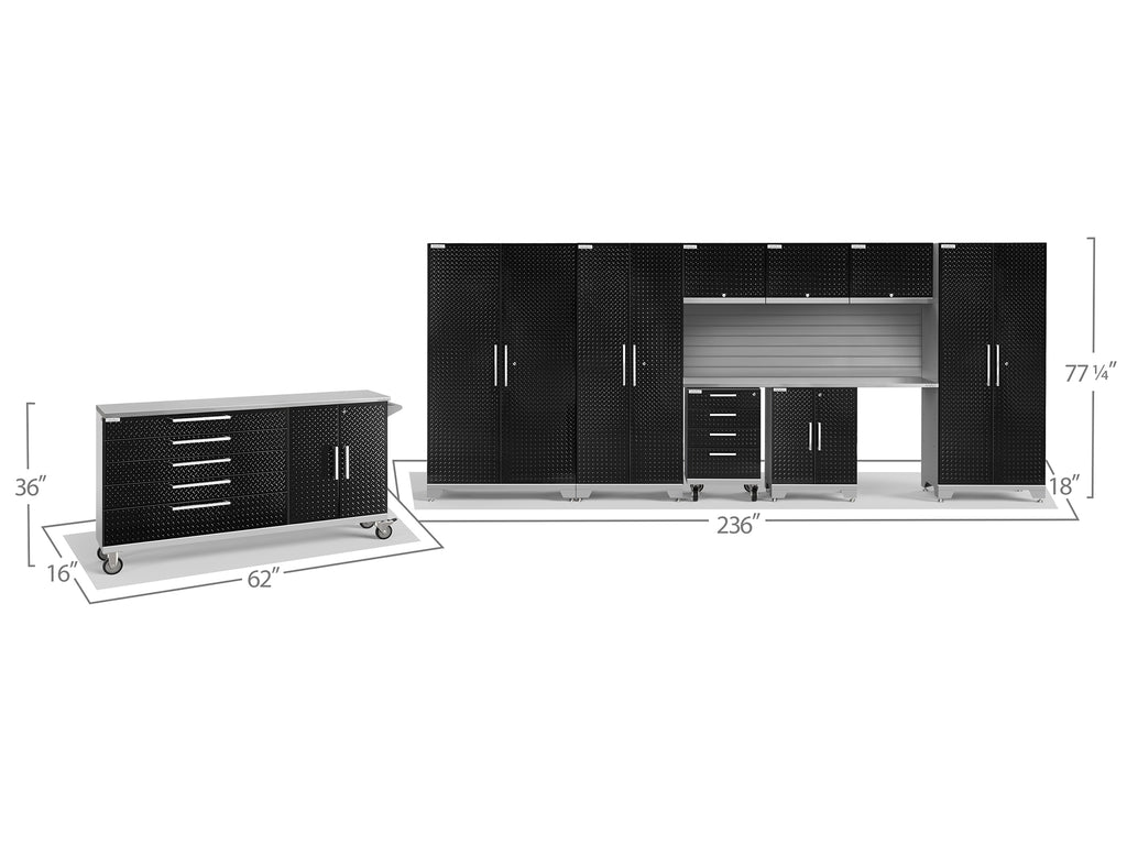 Black Diamond Plate Doors with Stainless Steel Top / Slatwall Backsplash Only