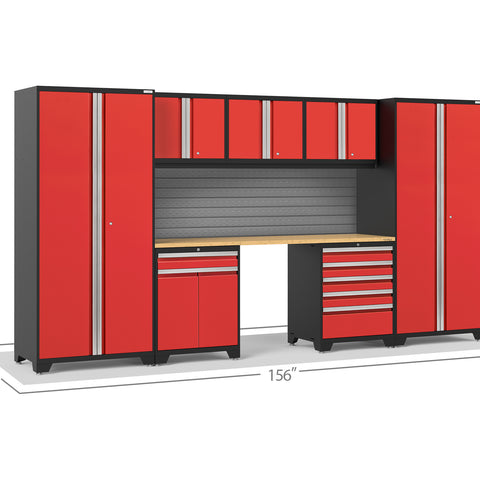 Red Doors with Bamboo Top / Slatwall Backsplash Only