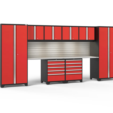 Red Doors with Stainless Steel Top / LED Light with Slatwall Backsplash