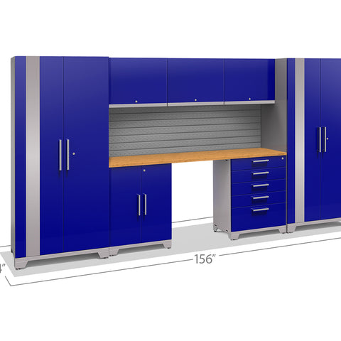 Blue Doors with Bamboo Top / Slatwall Backsplash Only