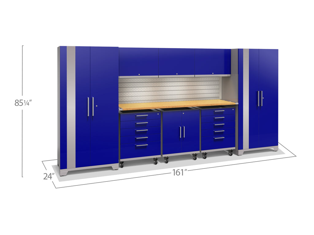 Blue Doors with Bamboo Top / LED Light with Slatwall Backsplash