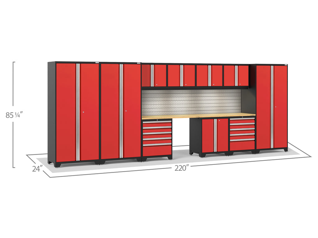 Red Doors with Bamboo Top / LED Light with Slatwall Backsplash
