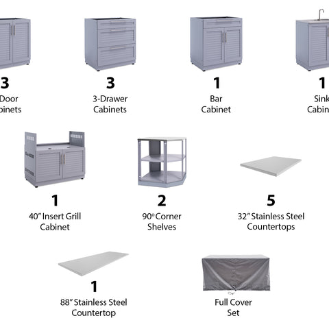 Outdoor Kitchen Aluminum 11 Piece Cabinet Set