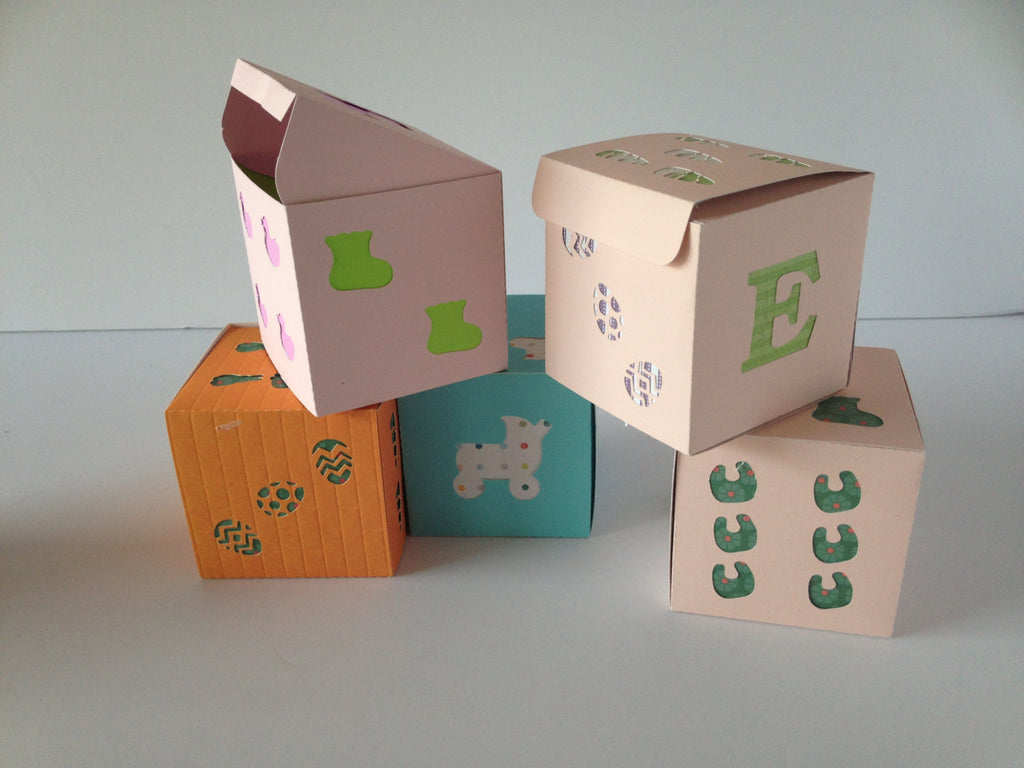 6 Handmade cube boxes