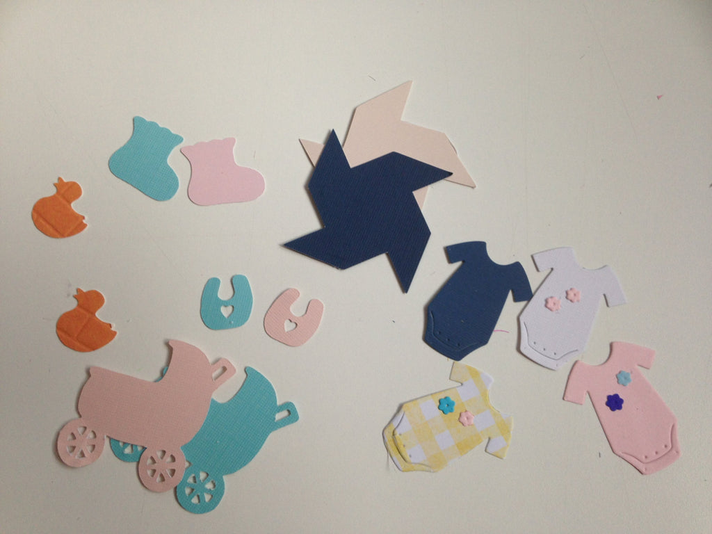 6  paper die cut  baby items -  ( 20 each )