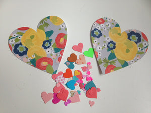 Set of 6 die cut hearts  paper DIY ( 30 each)