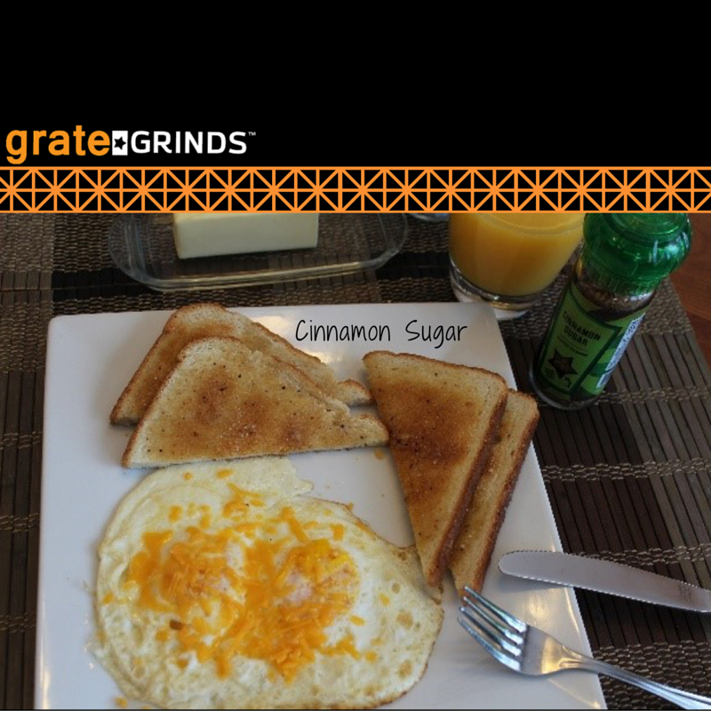 Breakfast Options using Grate Grinds Cinnamon Sugar