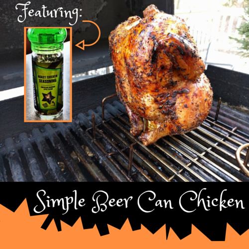 Simple Beer Can Chicken Cooked On Gas Grill