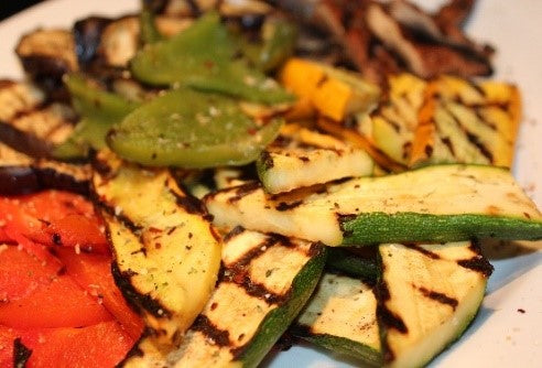 Chef Seasoning Salt on Grilled Vegetables
