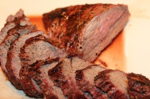 Sliced grilled beef sirloin tri-tip with Santa Maria BBQ Rub
