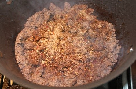 Browning the ground beef for the Cincinnati Chili