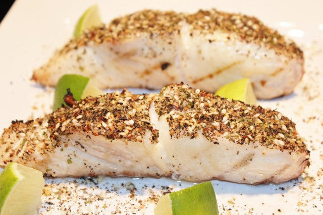 Sauteed fresh halibut with Seattle Seafood Seasoning