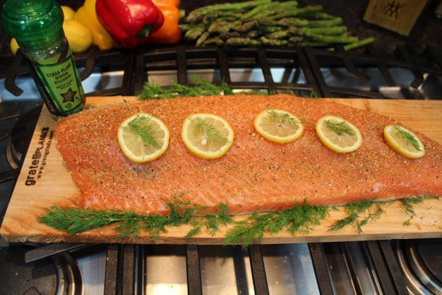 Full side of salmon with Cedar Plank Seafood Seasoning ready for the oven or grill.