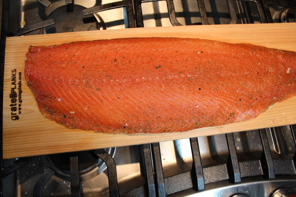 Cured salmon, rinsed and dried, ready to be smoked.