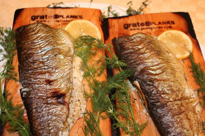 Barbecued Rainbow Trout on Medium Grate Planks