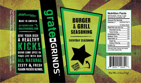 Burger & Grill Seasoning - 2.5 oz refillable spice grinder
