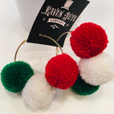 The Christmas Hoop Pom Earrings