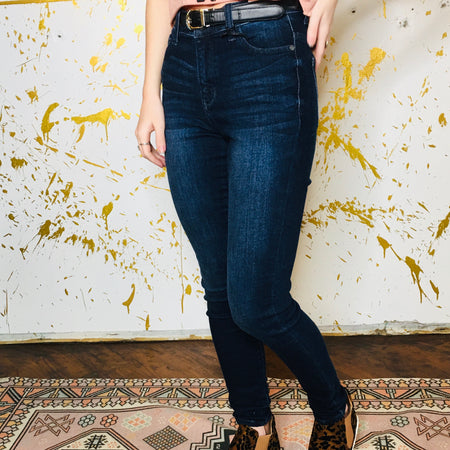 Dark Denim Mid Rise Distressed Skinnies