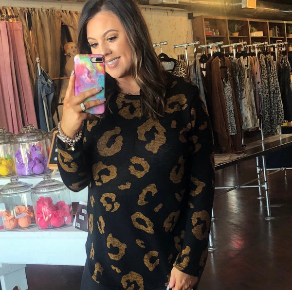 The Black & Gold Leopard Tunic