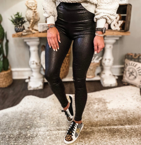 Snakeskin Leather Leggings