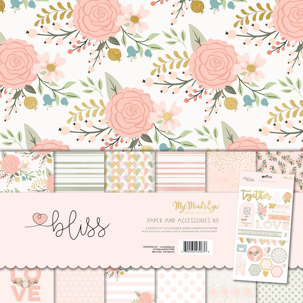 My Minds Eye - Bliss 12x12 Paper and Accessories Kit with Foil Accents (Wedding, Love)