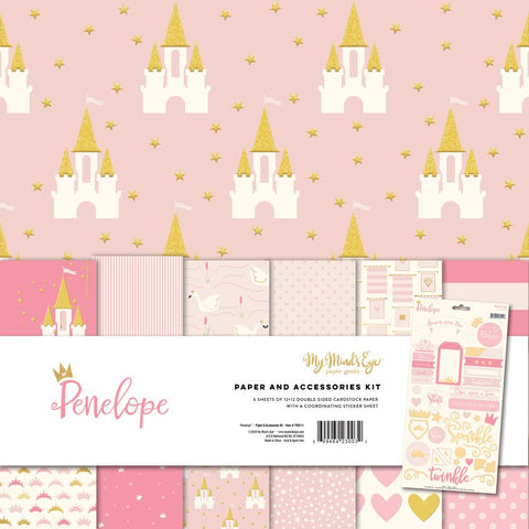 My Minds Eye - Penelope 12x12 Paper and Accessories Kit, Gold Accents (Princess, Girl)