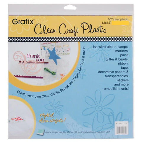 "GRAFIX - Craft Plastic Sheet 12x12 .007"" Medium Acetate, Transparency, Overlay"