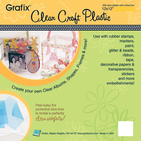 GRAFIX - Craft Plastic Acetate Sheets 12x12 .020""