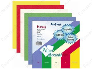 Paper Accents - Variety pk 12x12 25 pieces Primary Cardstock, Scrapbooking
