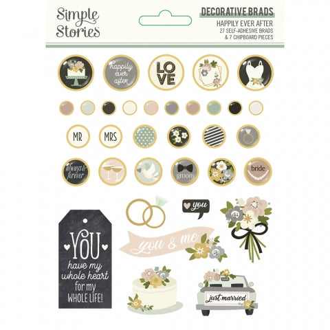 Simple Stories - Happily Ever After Decorative Brads (Wedding)