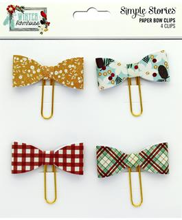 Simple Stories - Paper Bow Clips, 4 pieces - Winter Farmhouse