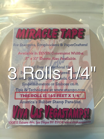 "Miracle Tape -3 rolls 1/4"" Double-Sided Tape (165 feet/55 yards per roll)"