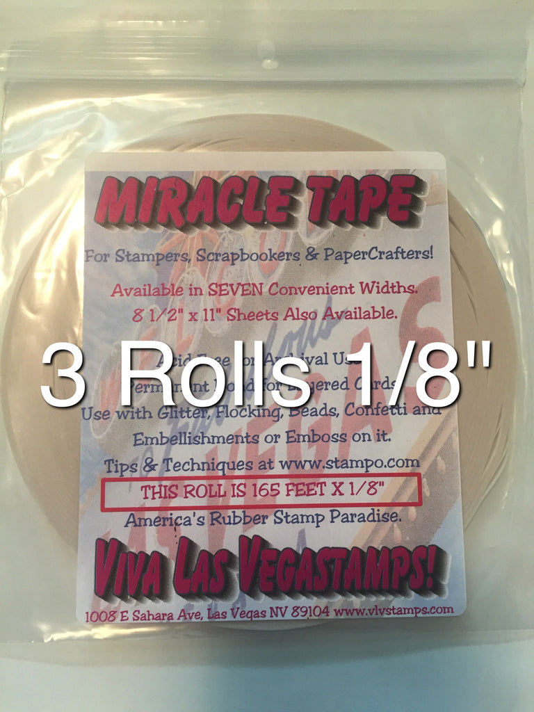 "Miracle Tape -3 rolls of 1/8"" Double-Sided Tape (165 feet/55 yards per roll)"