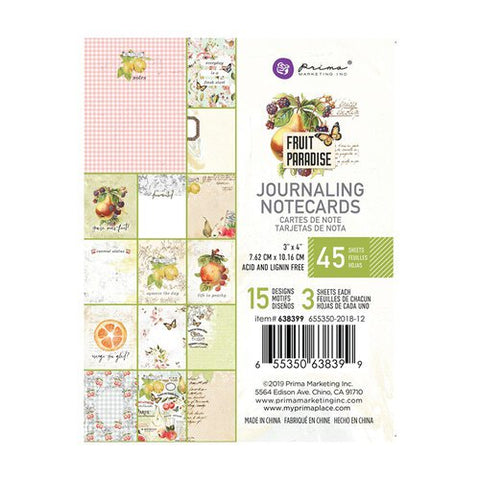 Prima Marketing - Fruit Paradise 3x4 Journaling Notecards (Vintage, Fruit, Floral)